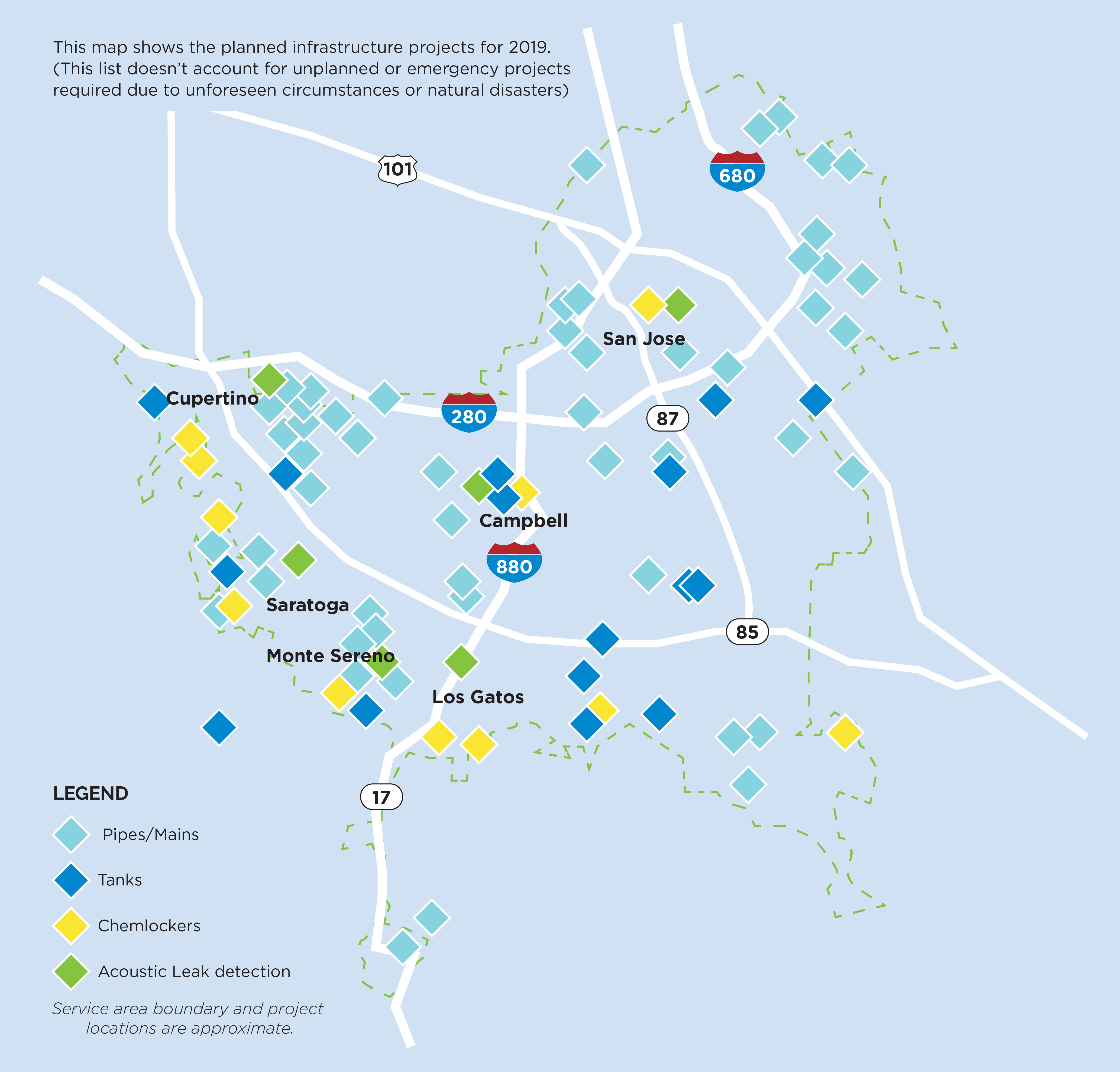 San Jose Water 2019 Infrastructure projects map
