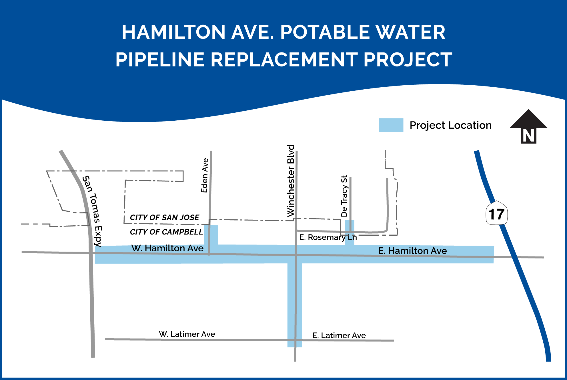 Hamilton Avenue Potable Water Pipeline Replacement Project map