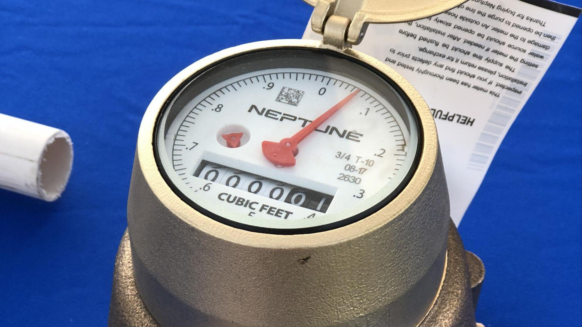Closeup of a new water meter on a table