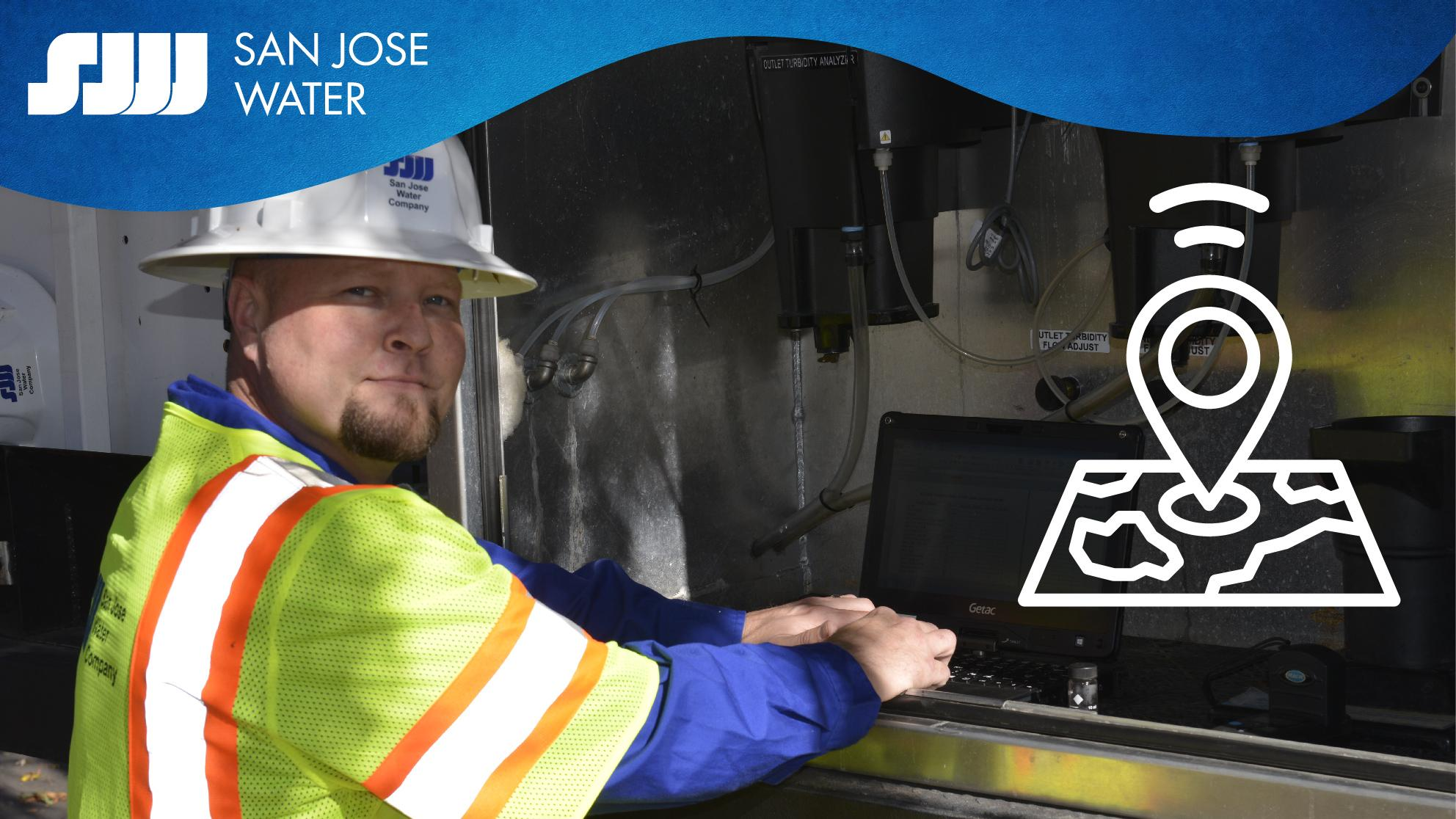 San Jose Water field employee with gps icon