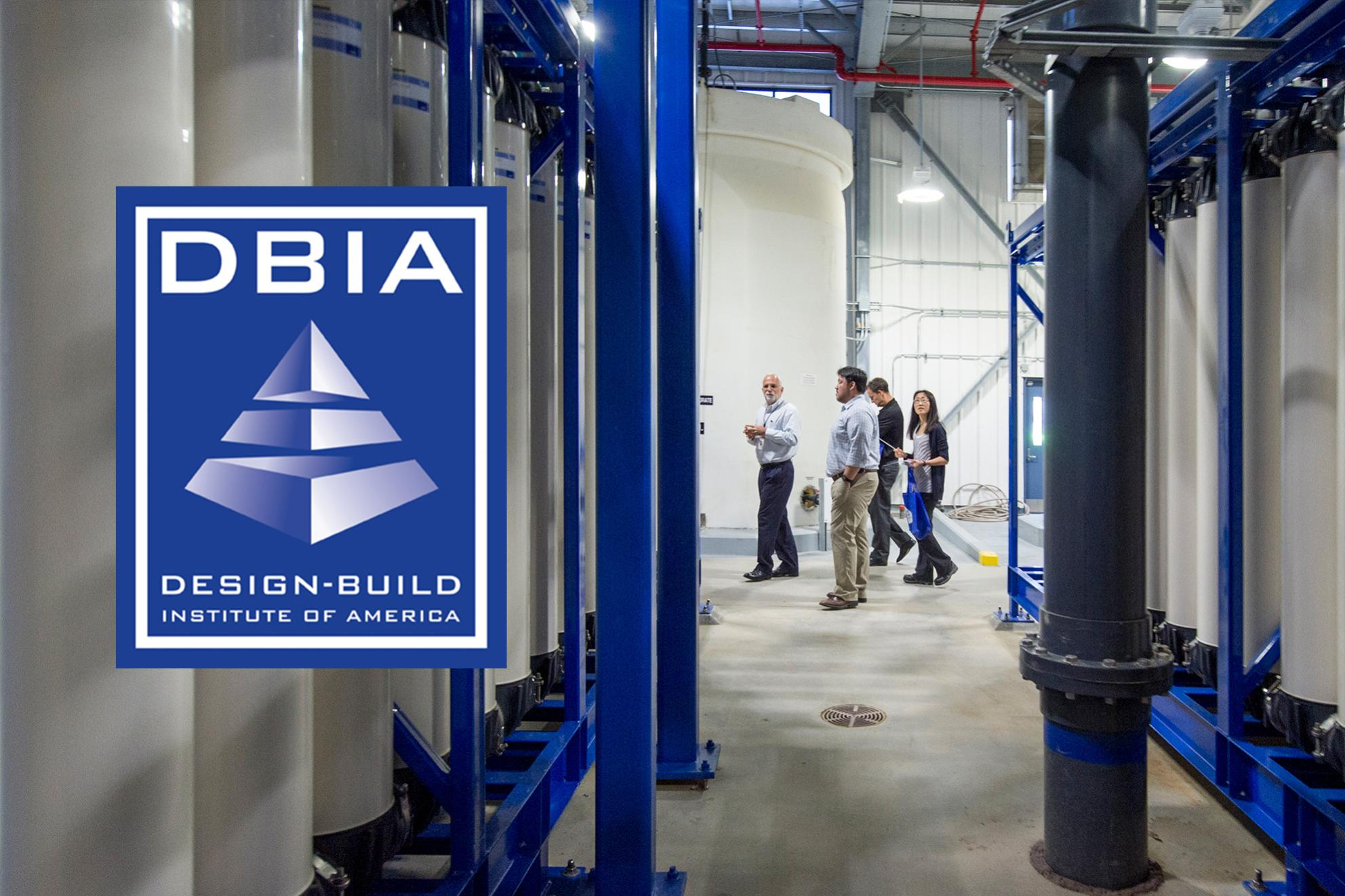 Design-Build Institute of America logo; People touring the Montevina Water Treatment Plant