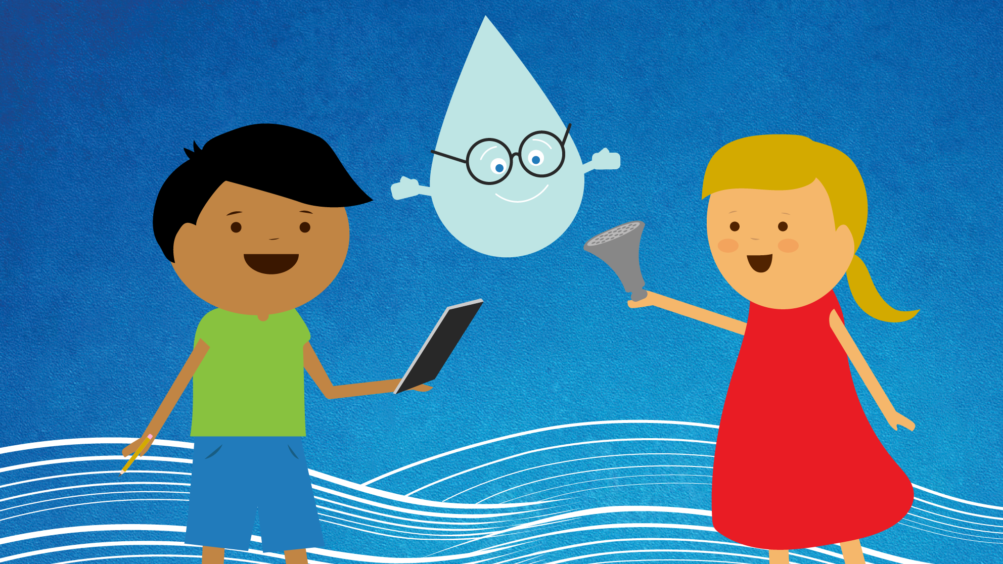 Cartoon of children and water drop in glasses