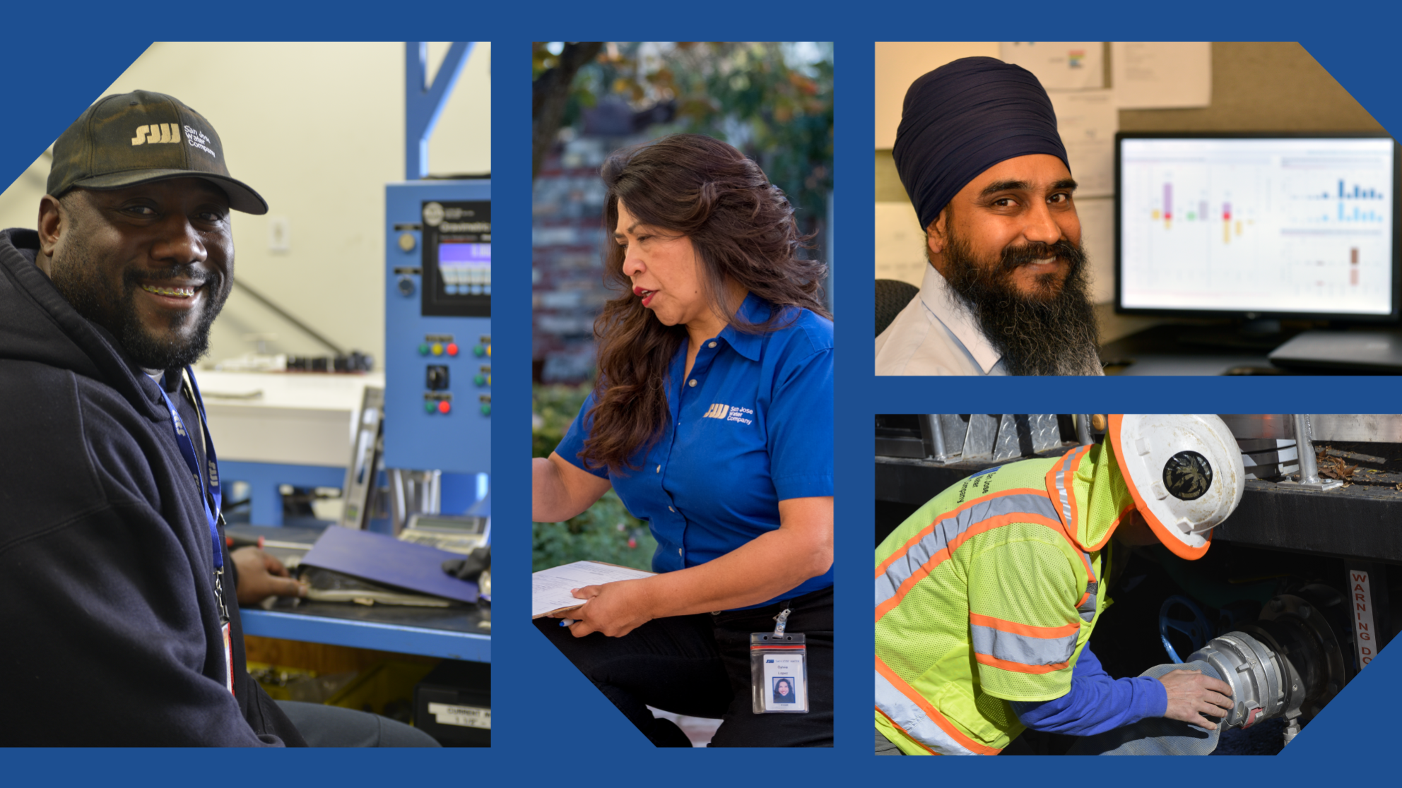 Collage of San Jose Water employees smiling while on the job.