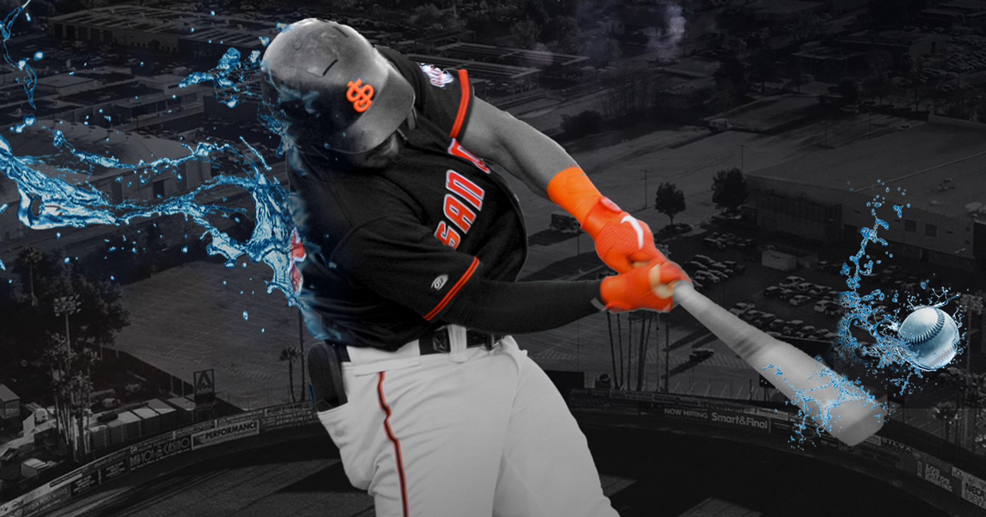 A SF Giants player hitting a baseball with a bat with a water splash effect.