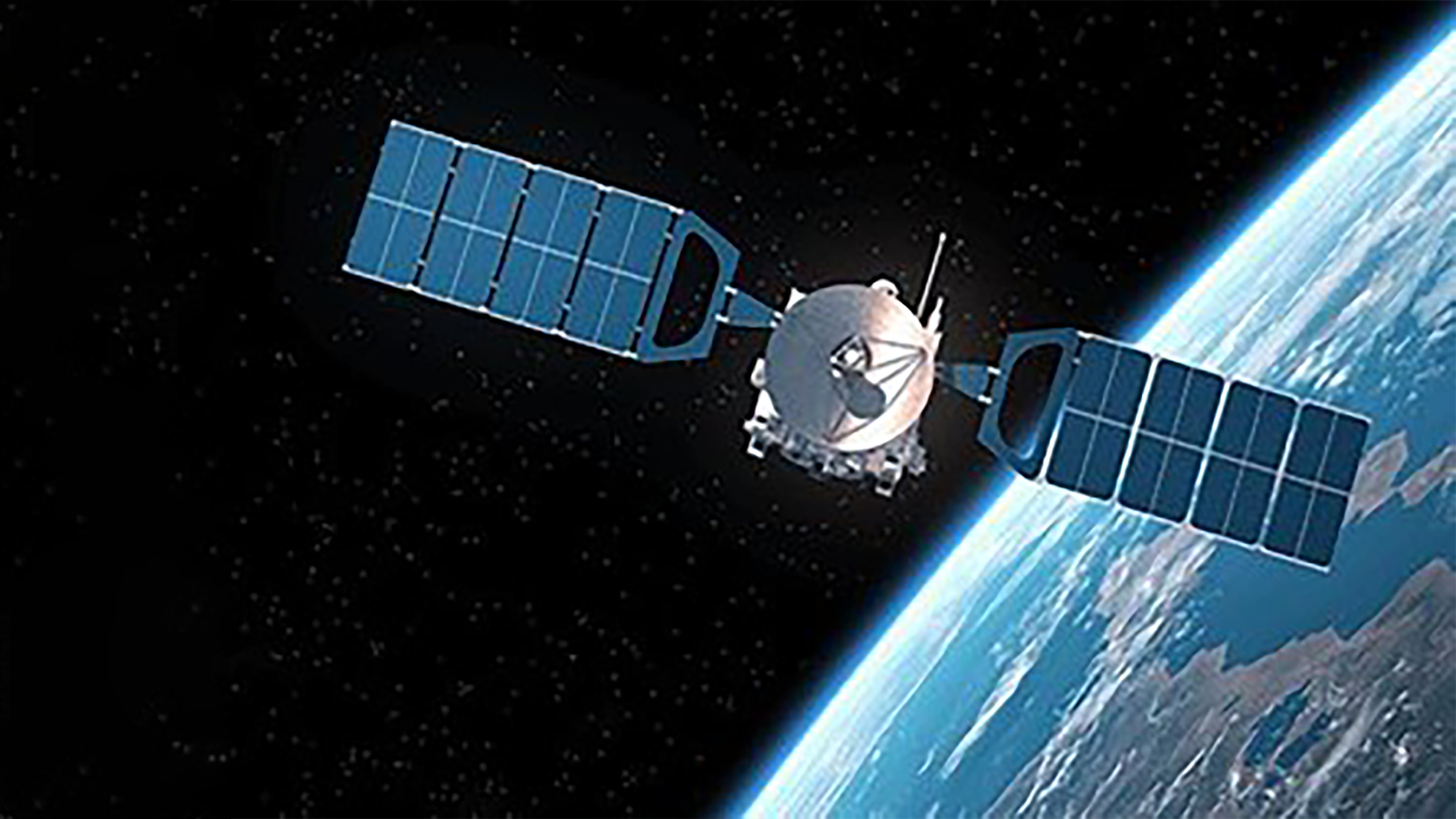 A graphic showing a satellite floating in space in Earth's orbit