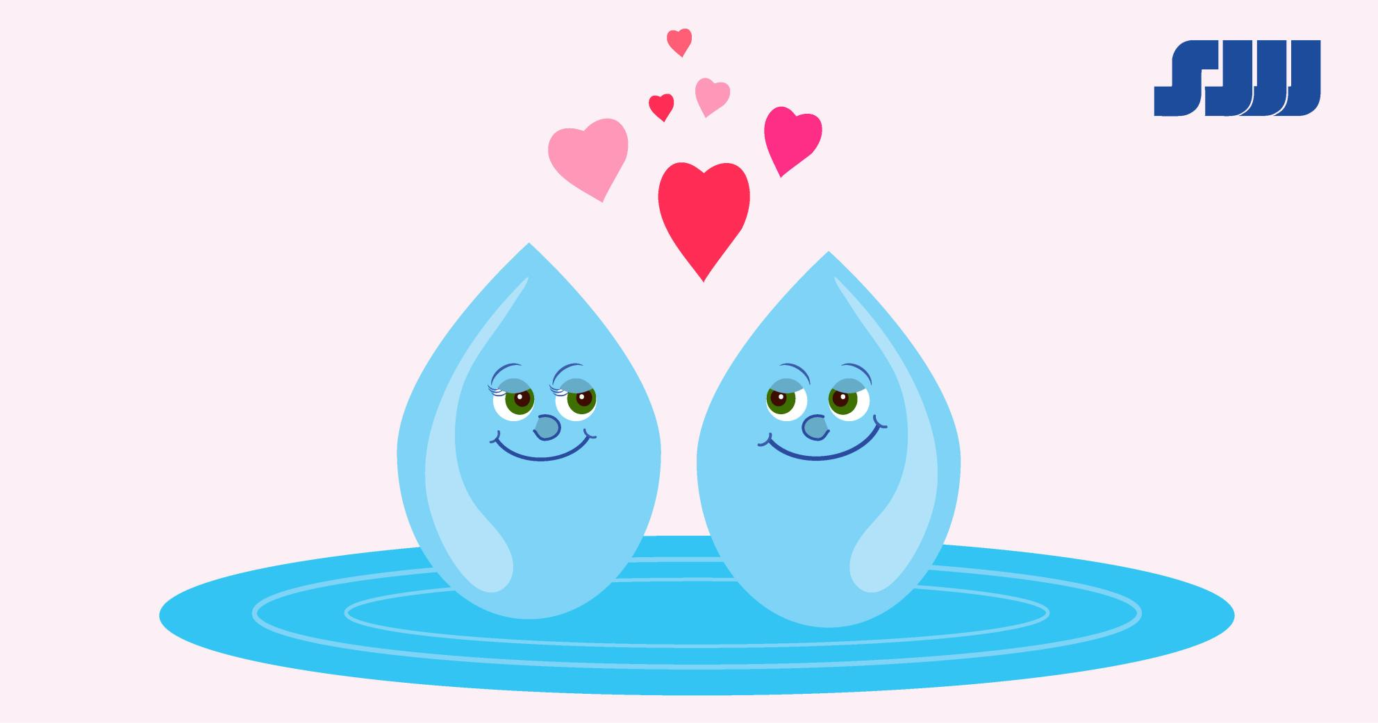 Cartoon image of two smiling water drops looking at each other with hearts rising between them
